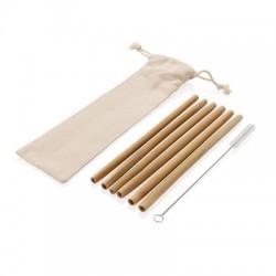 Bambusowe słomki wielokrotnego użytku, 6 el.