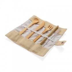 Zestaw sztućców bambusowych wielokrotnego użytku, 4 el.