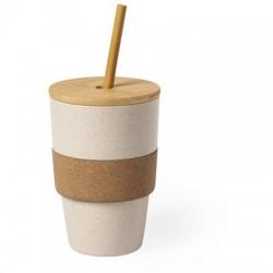 Bambusowy kubek podróżny 450 ml z wieczkiem, słomką i korkową obręczą