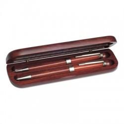 Zestaw piśmienny, długopis i ołówek w drewnianym etui